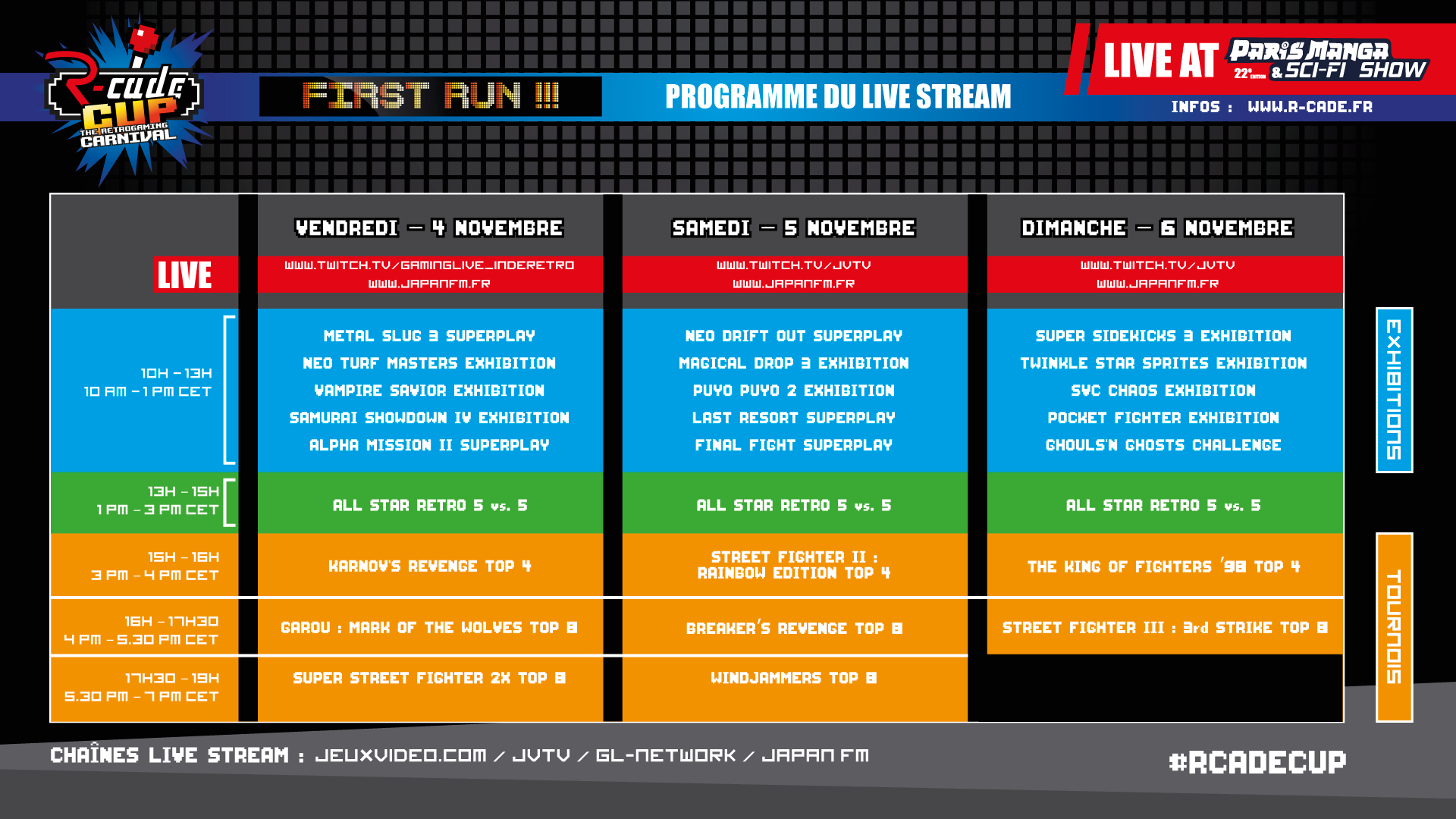 R-Cade Cup First Run - Du 4 au 6 novembre 2016 - Paris Expo  Planning-rcadecup